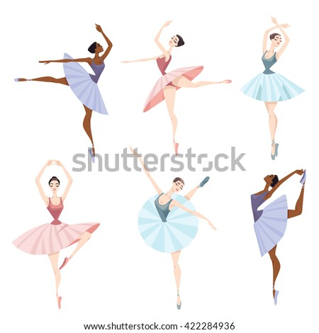 Set of vector illustrations of ballet dancers. - stock vector