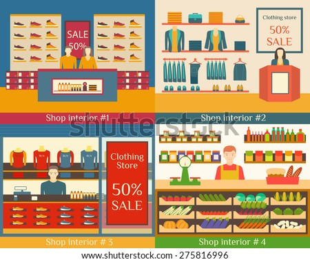Set of vector illustrations of flat clothing stores, food and beverage sellers. - stock vector