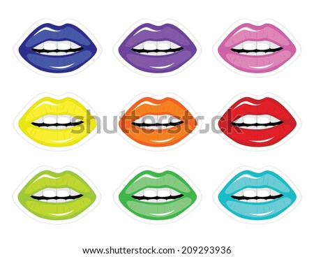 Set of vector illustrations of lips - stock vector