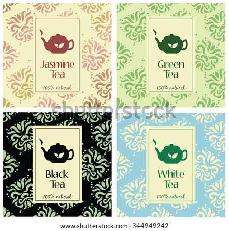 Set of vector illustrations of tea packaging. Hand-drawn patterns  and the teapot icons. Packaging for black tea, green tea, white tea and jasmine tea. - stock vector