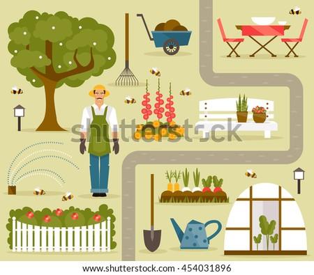 Concept Gardening Garden Tools Banner Summer Stock Vector