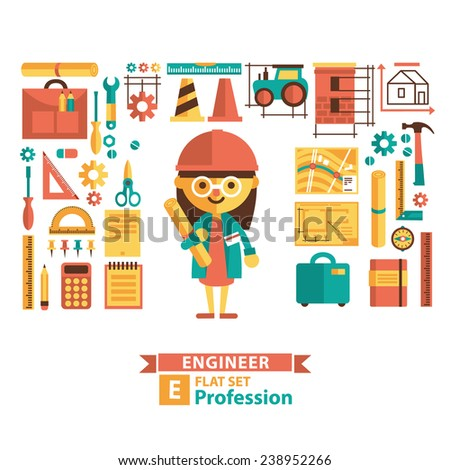 Set of vector images in a flat style. Engineering profession. Cartoon characters and icons. Female character. - stock vector