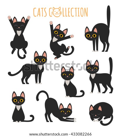 Set of vector images of cute black cat in various poses.