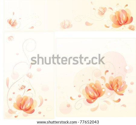 Set of vector images of fantastic flowers with swirls. Performed in soft romantic colors. Can be used as decoration sites. - stock vector