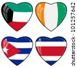 Set of vector images of hearts with the flags of Costa Rica, Cote d Ivoire, Cuba, Kuwait - stock photo