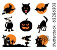Set of vector images. Two-color icons of Halloween - stock vector