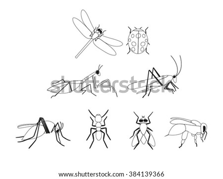 Set of vector insects. Insects line silhouette set. Linear Insects of gnat, ant, fly, bee, mosquito, dragonfly, beetle, ladybug, mantis, grasshopper. Insect icons isolated on white. Line insect set. - stock vector