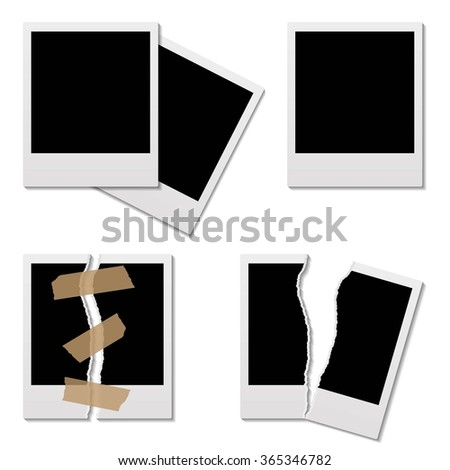 Set of Vector instant photo frame - stock vector