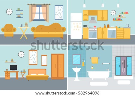 Set Of Vector Interiors With Furniture And Equipment Design A Living Room Kitchen