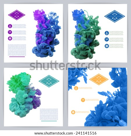 Set of vector isolated clouds of ink swirling in water on white background. Texture of splashes of paint, ink. Template design.  - stock vector