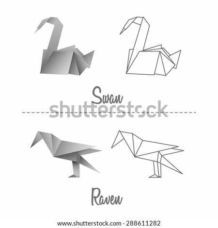 Set of vector japanese paper origami birds swan and raven on white background.  - stock vector
