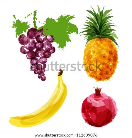 Set of vector juicy ripe fruits-3. EPS10 - stock vector