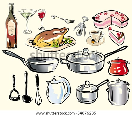 Set of vector kitchen vare accessories and some food - stock vector