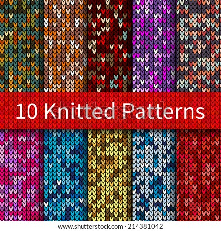Set of vector knitted sweater seamless patterns (tiling). Endless texture can be used for wallpaper, pattern fills, web page background, textures etc. - stock vector