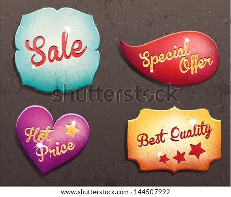Set of vector labels. - stock vector