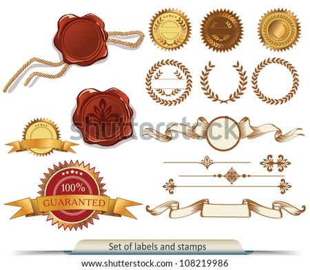 Set of vector labels and stamps - stock vector