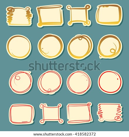 Set of vector labels, cutout paper frames with flourish decoration, vintage ornamental calligraphic vignettes, blank hand drawn circle highlighters, markers - stock vector