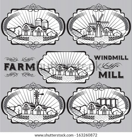 set of vector labels for farm, mill, windmill, rural landscape - stock vector
