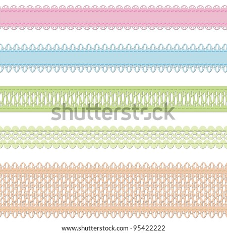 Set of vector laces over white - stock vector