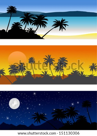Set of vector landscape with palm trees in the morning, evening and night.