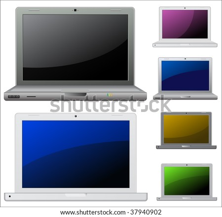 Set of vector laptop icons.