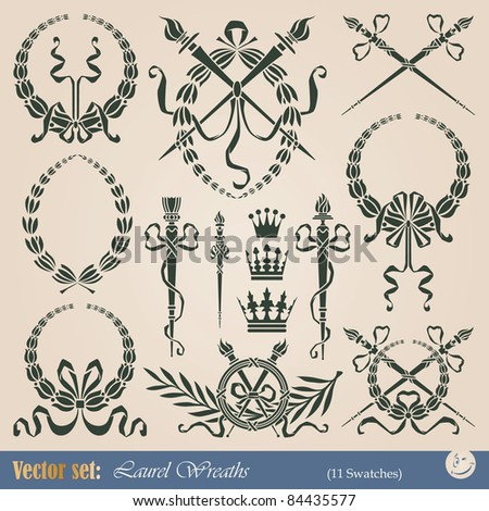 Set of vector laurel wreaths for decoration and design - stock vector