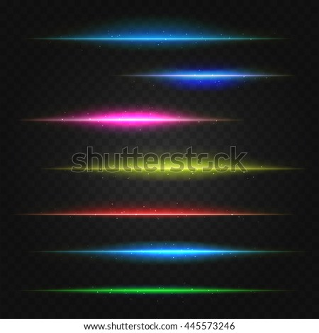 set of vector lens flares lines. vector illustration - stock vector