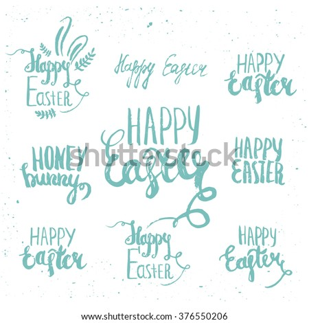 Set of vector lettering elements of happy easter on white background. Perfect for greeting card or elegant party invitation. - stock vector