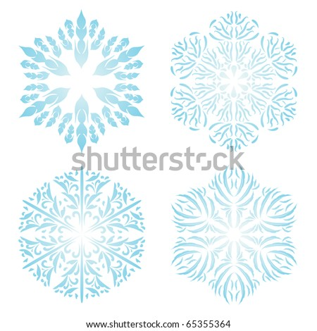 Set of vector light blue snowflakes - stock vector