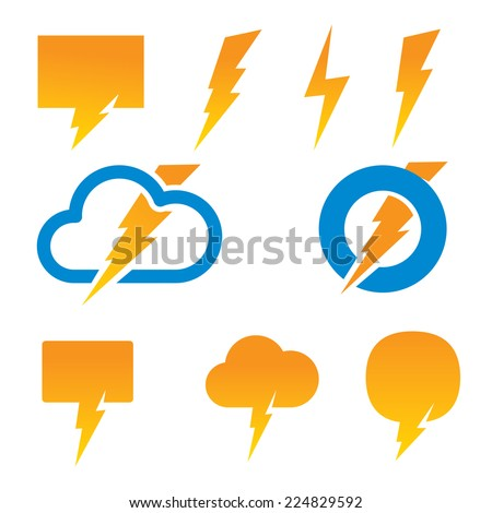 Set of vector lightning icons. - stock vector