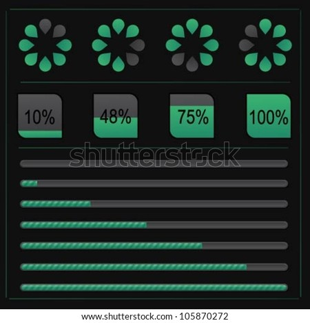 Set of vector loading icons on black background - stock vector