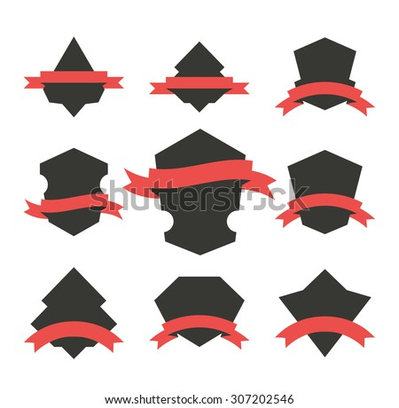 Set of vector logo badges with shields wrapped with ribbons. Blank emblem templates collection.