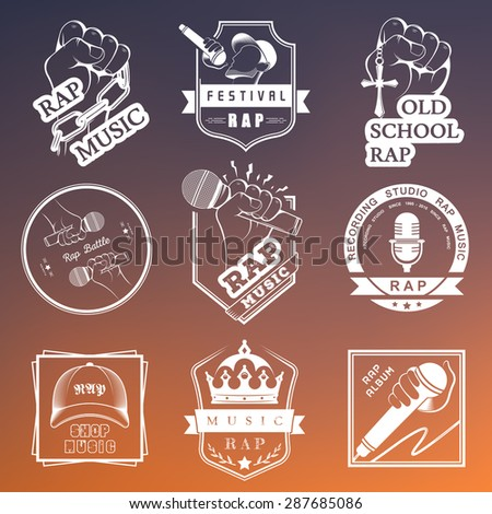 Set of vector logos, badges and stickers Hip Hop and Rap music. Collection of emblems battle, club and festival. - stock vector