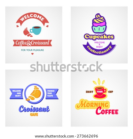 Set of vector logos. Cafe and bakery emblems. Coffee, tea, croissant, cupcake for your design. - stock vector