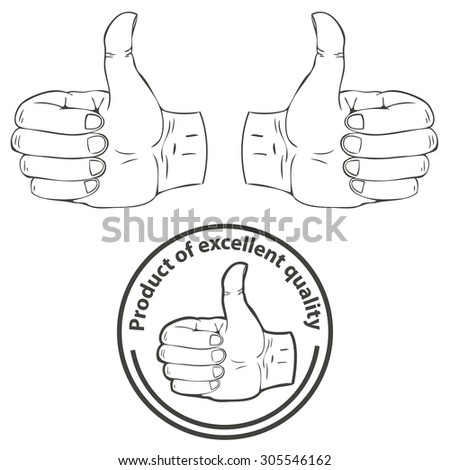 Set of vector logos. Illustration of the thumbs up