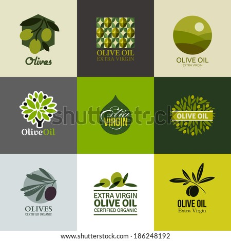 Set of vector logos, labels and emblems with olive branch - stock vector