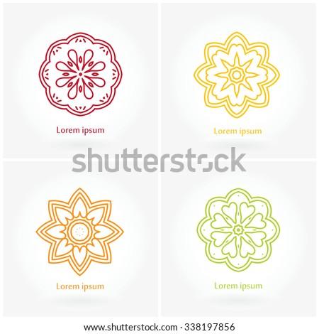 Set of vector logos. The circular pattern. Company logo, mark, emblem, element. Simple geometric logo. Mandala logo. Icons, logos, business, invitations. Vintage. Islam, Arabic, Indian, ottoman. - stock vector