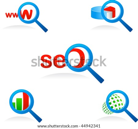 set of vector magnifier glass icons and symbols for searching and SEO - stock vector