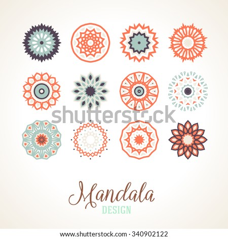 Set of 12 vector mandalas. Bright and colorful snowflakes for Christmas decor. Winter unique bold and simple elements. Various round ornaments of small size for logo and icon design.  - stock vector