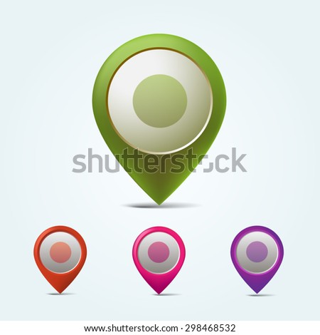 Set of vector map markers. Colorful map pins - stock vector