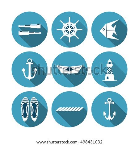 Set of vector marine symbols and elements. Vector