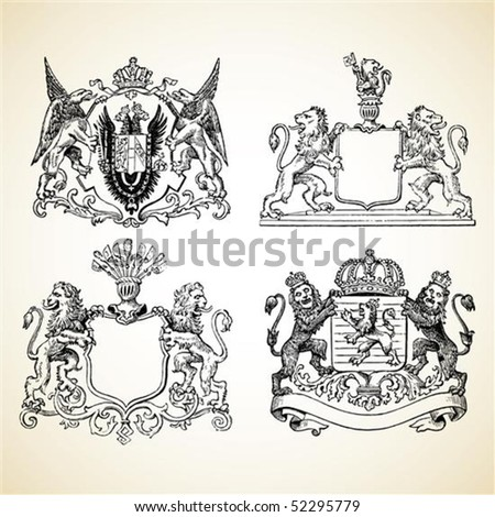 Set of vector medieval crests. - stock vector