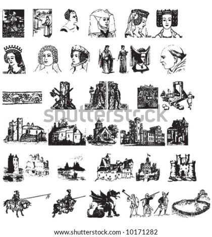 set of vector medieval pictures - stock vector