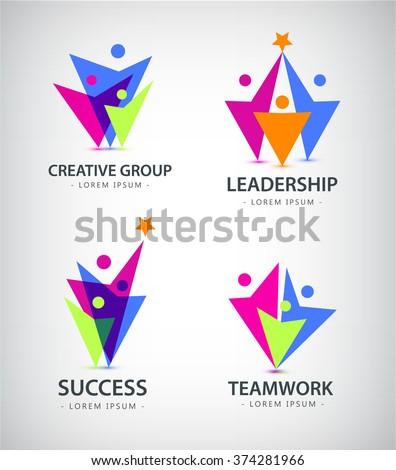 Set of vector men, human logos, icons. Family, team, people logos, leadership business logos - stock vector