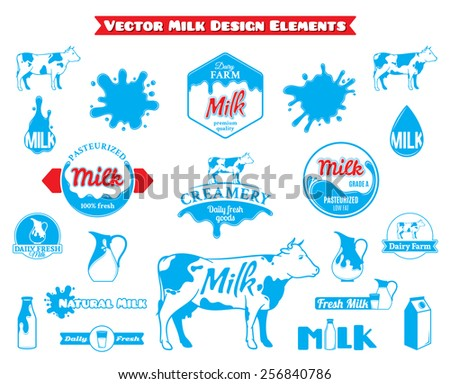 Set of Vector Milk Labels and Design Elements Isolated on White - stock vector