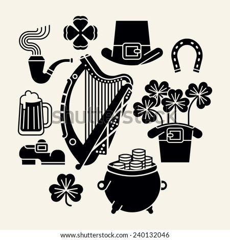Set of vector modern black and white decoration items on Happy Saint Patrick's Day featuring Ireland harp, clover leaves, leprechaun hat, shoe, pint of beer, pot of gold and more - stock vector