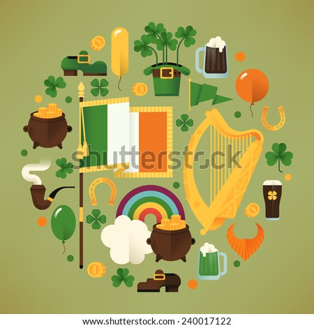 Set of vector modern flat design circle composition on Saint Patrick's Day featuring Ireland flag, harp, clover leaves, leprechaun hat, red beard, pot of gold, rainbow, balloons and more - stock vector
