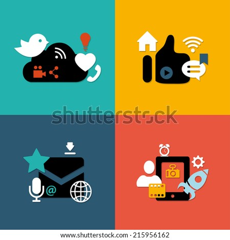 Set of vector modern flat design social media compositions - stock vector