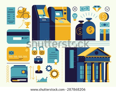 Set of vector modern trendy flat design web icons on banking and finance operations, savings and account managing with bank building, ATM teller machines, credit cards, wallet, cash money and more - stock vector