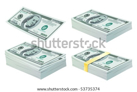 set of vector money - dollar isolated on the white background - stock vector